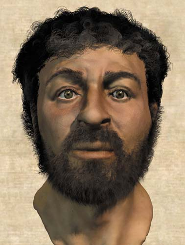 "In 2002, some British scientists produced this ""reconstruction"" of Jesus' face. No one really knows, but it's probably much closer than the above."